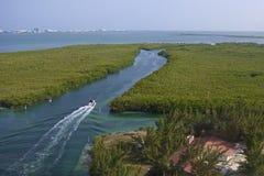 Lagune Quintana Roo i Cancun, Mexico Arkivbild