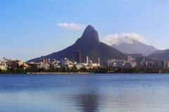 Lagune Rodrigo de Freitas (Lagoa), Rio de Janeiro, Brazilië royalty-vrije stock foto's