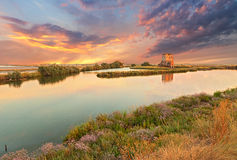 Lagune van Comacchio, Ferrara, Italië Royalty-vrije Stock Afbeeldingen