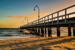 Lagunepijler, het Strand van Havenmelbourne, Australië Royalty-vrije Stock Foto's