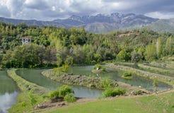 Lagunes artificielles pour la pêche photo stock