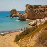 Lagunestrand in Cyprus royalty-vrije stock foto's