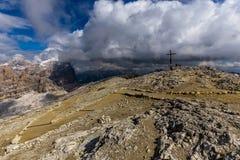 Laguzoi peak. On the top of the peak Laguzoi at Dolomites stock images