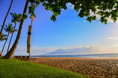 Lahaina毛伊海岸线视图 免版税库存图片