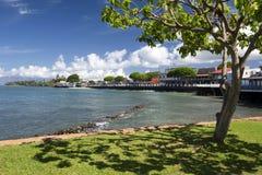 Lahaina的前面街道,毛伊,夏威夷看法  免版税库存照片