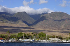 Lahaina Harbor and Moutains - Maui, Hawaii Stock Photography