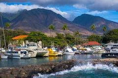 Lahaina marina, västra Maui berg Arkivbilder