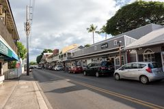 Lahaina in Maui. LAHAINA, HI: October 15, 2016: Lahaina waterfront shopping area. Lahaina is in West Maui and is a popular destination for tourists visiting Stock Photo