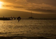 The Lahaina pier at sunset stock photo
