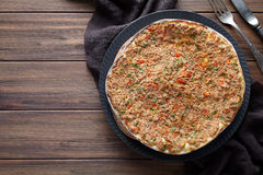 Lahmacun homemade turkish delicious pizza with minced beef or lamb meat Stock Photo