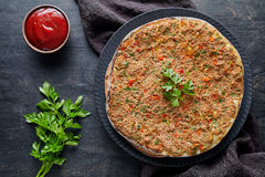 Lahmacun traditional turkish homemade pizza with minced beef or lamb meat, paprika Royalty Free Stock Images