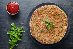 Lahmacun traditional turkish restaurant pizza with minced beef or lamb meat Royalty Free Stock Images