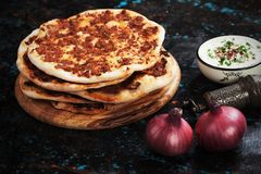 Lahmacun, turkish meat pizza Royalty Free Stock Photography