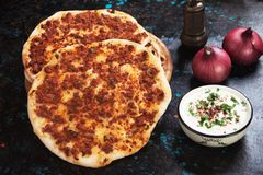 Lahmacun, turkish meat pizza Stock Photography