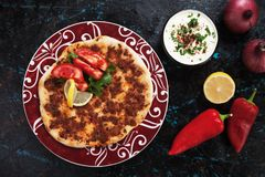 Lahmacun, turkish meat pizza Royalty Free Stock Photos