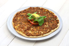 Lahmacun, turkish minced meat pizza. Isolated Stock Images