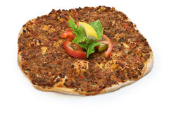 Lahmacun, turkish minced meat pizza. Isolated Royalty Free Stock Photos