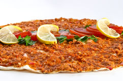 Lahmacun - Turkish pizza. Close-up Royalty Free Stock Photography