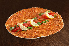 Lahmacun - Turkish pizza. With vegetables Stock Photos