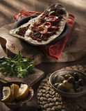 Lahmacun - turkish pizza on a wood background Stock Image