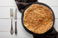 Lahmacun turkish restaurant pizza with minced beef or lamb meat, paprika, tomatoes Stock Image
