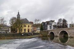Lahn bridge in Wetzlar, Germany. View of Lahn river with bridge and church in Wetzlar, Germany royalty free stock photography