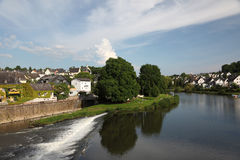 Lahn River in town Runkel. Germany Stock Photography