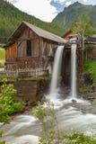 Lahner Saege, een historische zaagmolen, Ulten-Vallei, Zuid-Tirol, stock foto