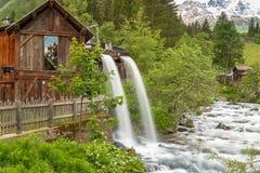 Lahner Saege, ett historiskt sågverk, Ulten dal, södra Tyrol, royaltyfria bilder