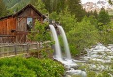 Lahner Saege, ett historiskt sågverk, Ulten dal, södra Tyrol, arkivbilder