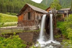 Lahner Saege, historyczny tartak, Ulten dolina, Południowy Tyrol, Zdjęcie Royalty Free