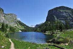 Lahngangsee, Austria. Spring alpine scenery at Vorderer Lahngangsee in Totesgebirge - Austria Stock Photo