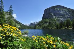 Lahngangsee. Spring alpine scenery at Vorderer Lahngangsee in Totesgebirge - Austria Stock Photography