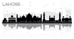 Lahore City skyline black and white silhouette with reflections. Royalty Free Stock Photo