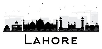 Lahore City skyline black and white silhouette. Royalty Free Stock Photography