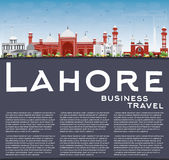 Lahore Skyline with Color Landmarks, Blue Sky and Copy Space. Royalty Free Stock Image