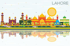 Lahore Skyline with Color Landmarks, Blue Sky and Reflections. Royalty Free Stock Images