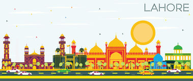 Lahore Skyline with Color Landmarks and Blue Sky. Royalty Free Stock Images