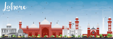 Lahore Skyline with Gray, Red Landmarks and Blue Sky. Stock Images