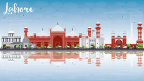 Lahore Skyline with Gray, Red Landmarks and Reflections. Stock Images