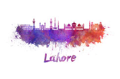 Lahore skyline in watercolor Stock Photos