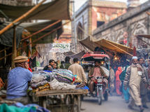 Lahore street scene. Busy road in an old town in Lahore, Pakistan Royalty Free Stock Image