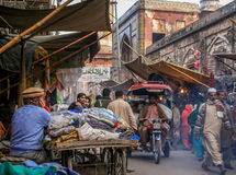 Lahore street scene. Busy road in an old town in Lahore, Pakistan Stock Photos