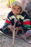 Lahu hilltribe woman playing a wind instrument in Chiang Rai province, Thailand. Chiang Rai, Thailand - December 10th 2014: Lahu hilltribe woman playing a wind stock photo
