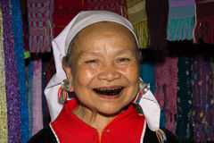 Lahu old woman with black teeth because of chewing Stock Image