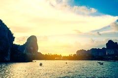 Lai Ray Bay on sunset Andaman sea Krabi,Thailand. Royalty Free Stock Photography