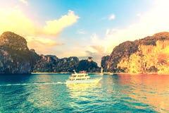 Lai Ray Bay on sunset Andaman sea Krabi,Thailand. Royalty Free Stock Image