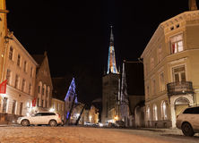 Lai street at night with illuminated St Olaf church Royalty Free Stock Images