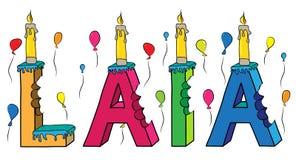 Laia żeński pierwsze imię gryźć kolorowy 3d pisze list urodzinowego tort z świeczkami i balonami ilustracji
