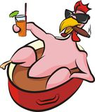 Laid back chicken in a pot. Pleased chicken with drink, cigar and sunglasses Royalty Free Stock Photo